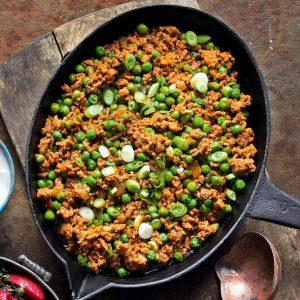 خوراک گوشت چرخ کرده و نخودفرنگی هندی